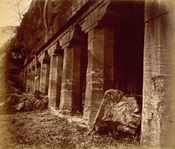 General view from the right of porch and entrance to Buddhist Vihara, Cave IV, Ajanta